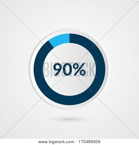 90 percent blue grey and white pie chart. Percentage vector infographics. Circle diagram business illustration