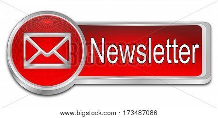 decorative red  Newsletter Button - 3D illustration