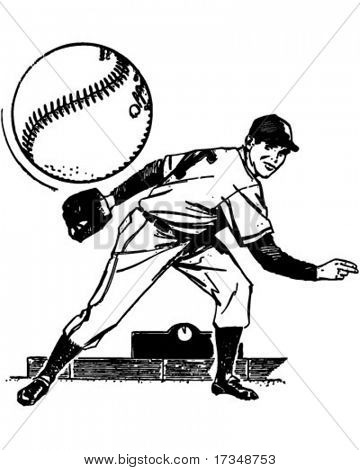 Baseball Pitcher - Retro Clipart Illustration