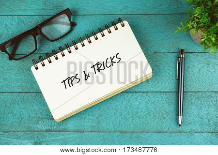 Business Concept. Top view of eye glasses, plant, pen and open notebook written with Tips & Tricks on blue wooden background.