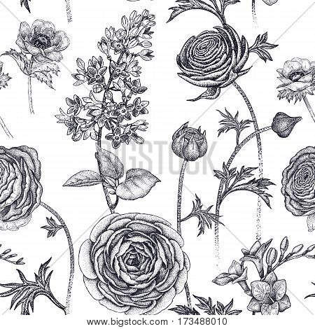 Spring flowers seamless floral pattern. Hand drawing garden plants buttercup lilac freesia anemone. Black and white. Vector vintage illustration. For wrapping fabric fashion paper.