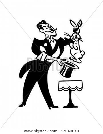 Magician Pulling Rabbit From Hat - Retro Clipart Illustration