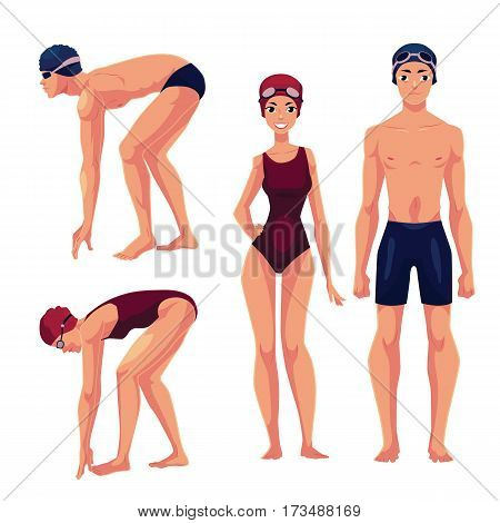 Set of swimmer, male and female, standing upright and preparing to dive, cartoon vector illustration isolated on white background. Man and woman in swimming suits, caps and goggles