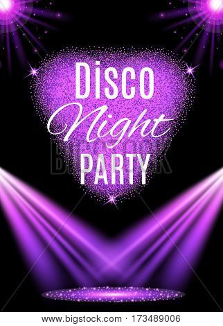 Vector illustration of Disco party poster. Nightclub.
