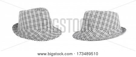 Set monochrome checked hat for the summer on an isolated background