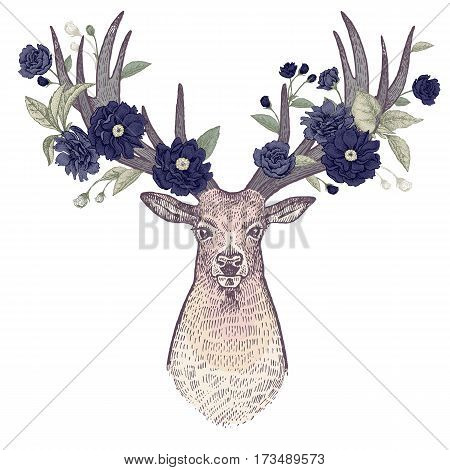 Head of deer with big horns full face and flowers branches tree leaves birds. Symbol of spring on white background. Vector art illustration. Vintage engraving for print T-shirts covers case phone