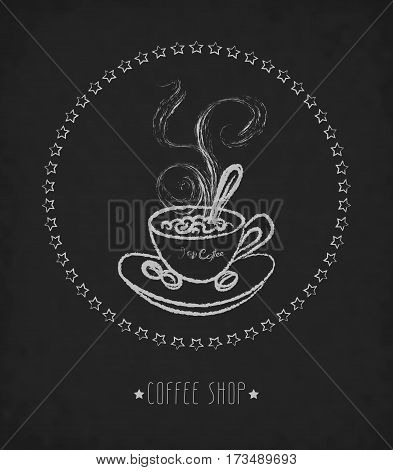 Hand drawn vector illustration of cup of hot coffee on blackboard. Concept image of coffeehouse restaurant menu cafe coffee shop