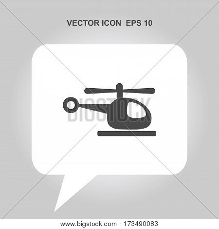 helicopter vector icon isolated on white background