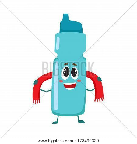 Funny protein shaker bottle character with human face rubbing itself with a towel, cartoon vector illustration isolated on white background. Smiling protein shaker bottle character, sport equipment