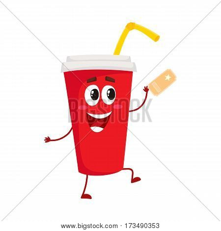 Cute and funny soda drink character in red paper cup with smiling human face, cartoon vector illustration isolated on white background. Smiling movie, cinema soft drink, beverage character, mascot