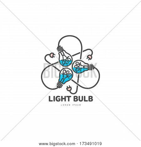 Logo of three black outline, line art light bulbs with different content levels and powers cords, vector illustration isolated on white background. Logotype, logo design with three light bulbs