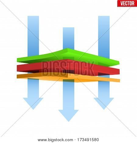 Technical illustration of multilayer thermal material. Airflow and Breathable properties. Demonstration of the structure material. Vector Illustration isolated on white background