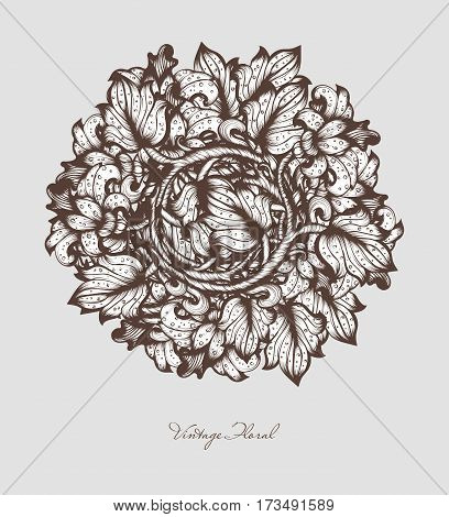 Hand Drawn Sketch Vintage Floral Vector Design Wirh Flowers And Leaves