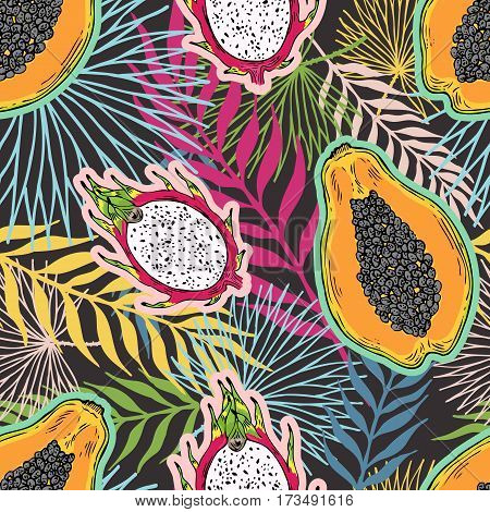Pattern of fruits papaya and pitaya on the color of the tropical leaves. On a black background. Seamless.