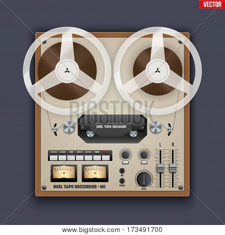 Original Vintage Analog Reel Tape Recorder. Retro technologies. Vector Illustration on dark background