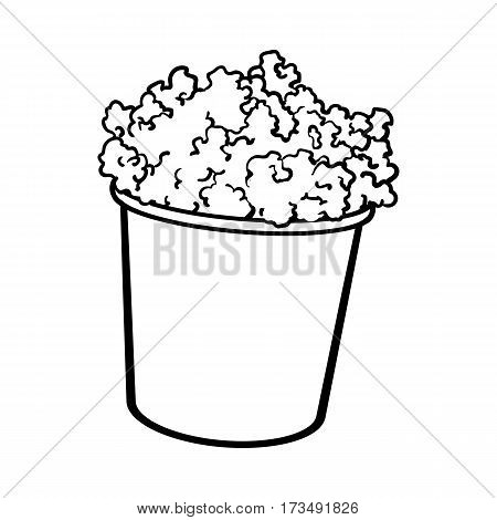 Cinema popcorn in a big striped bucket, sketch style black and white vector illustration isolated on background. Popcorn bucket, traditional cinema, movie theatre attribute, food, snack