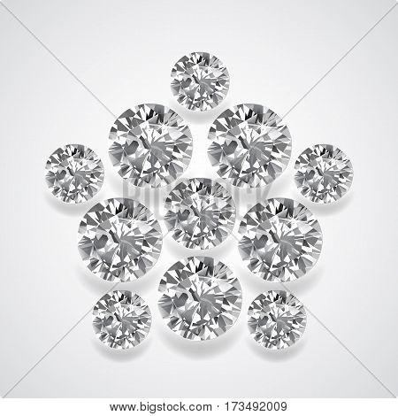 Diamond pentagon brooch isolated on light background vector illustration
