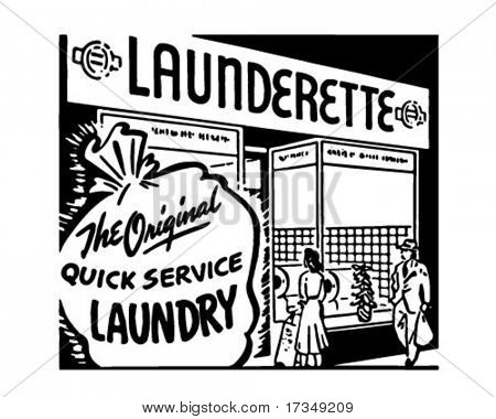 Launderette - Retro Ad Art Banner