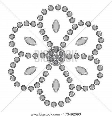 Texture of grey marquise & round cut gems isolated on white background vector illustration