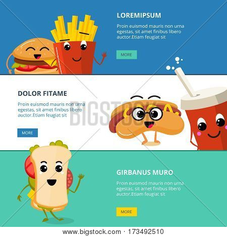 Vector horizontal banners set with cartoon cute fast food characters. Menu with tasty character cheeseburger, web banner with characters fast food illustration
