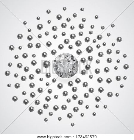 Silver pearls scattered around a large gem isolated on background vector illustration