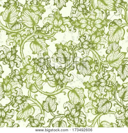 Floral Hand Drawn Vintage Spring Green Seamless Pattern