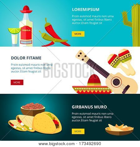Tasty mexican traditional cuisine food restaurant vector banners set. Tasty mexican taco and chili, banner with mexican nacho illustration