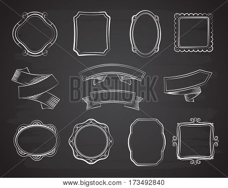 Vintage chalkboard hand drawn ribbon banners, picture frames and labels on black chalkboard vector set. Drawing sketch ribbons and frame for pictures illustration