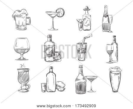 Doodle sketch cocktails and alcohol drinks in glass. hand drawn vector stock. Set of alcohol cognac and champagne, mulled wine alcohol in glass illustration