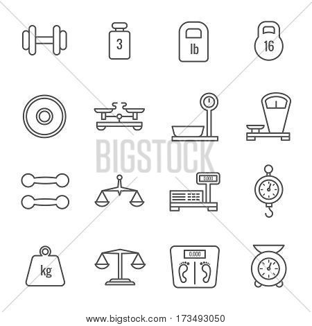 Measurement, weight scales, libra, balance thin line vector icons. Set of linear scales for food, illustration of weight and scale