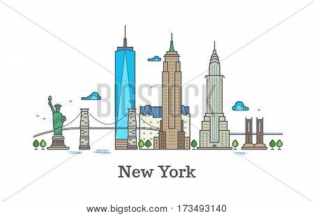 New york line vector symbol, nyc silhouette outline panorama, america skyline vector illustration. New york city architecture tower building