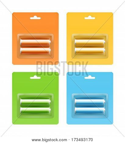 Vector Set of Yellow Orange Green Light Blue Glossy Alkaline AA Batteries in Yellow Orange Green Light Blue Blister Packed for branding Close up Isolated on White Background