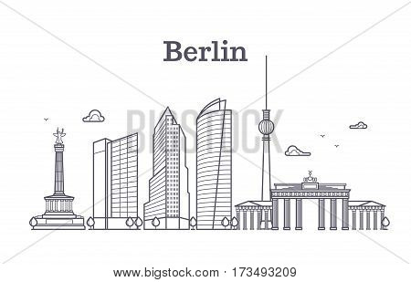 Germany berlin line vector landscape, city panoramic houses. Panorama berlin city, illustration of downtown outline berlin