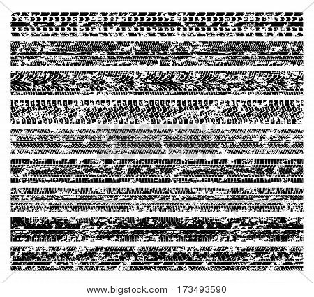 Dirty grunge tire tracks, mud bike tread marks isolated on white vector. Collection of tire track black, illustration of trace of tire