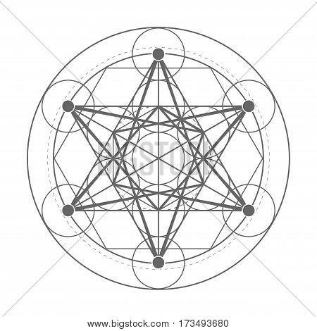 Metatrons Cube symbol. Sacred geometry vector illustration
