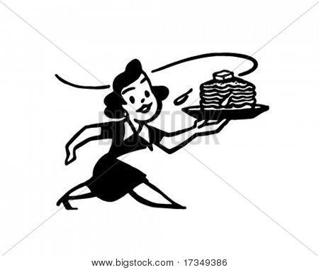 Lady With Hotcakes - Retro Ad Art Illustration