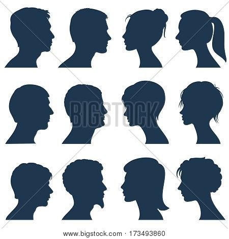 Man and woman face profile vector silhouettes. Silhouette of human head, illustration of silhouette view side head