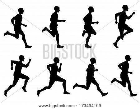 Jogging man, running athlete, runner vector silhouettes set. Man running training. illustration of sprinter man run