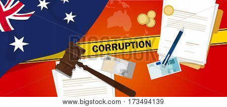 Australia corruption money bribery financial law contract police line for a case scandal government official vector