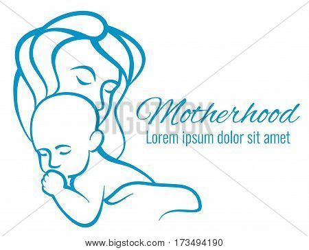 Mom and baby portrait, mothers care and love motherhood outline silhouettes vector concept. Baby with mother love sketch linear illustration poster