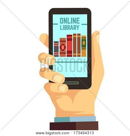 Hand holding smartphone with books, e-reading, online library vector education concept. Library online on phone, illustration of web mobile app library