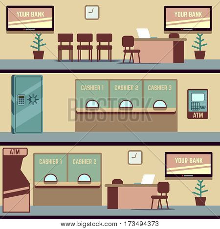 Empty bank office interior vector illustration. Interior of lobby bank with atm and cashier window