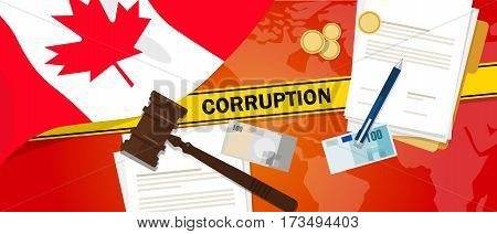 Canada corruption money bribery financial law contract police line for a case scandal government official vector