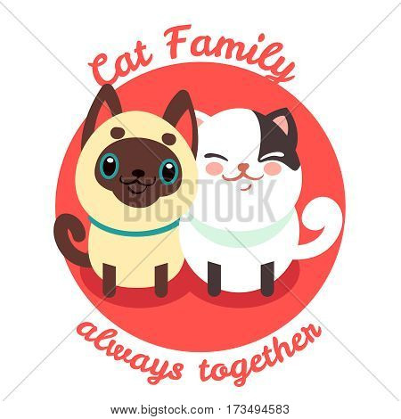 Cute cat, pussycat vector background. Cat family, happy couple of cats illustration