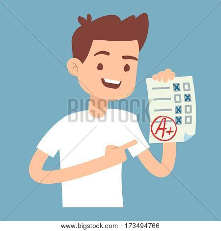 Teen student holding paper with perfect school exam test vector illustration. Student with result exam, success student education