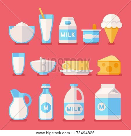 Dairy, milk, yogurt, cream, cheese products flat vector icons set. Milk product food illustration, fresh farm milk in bottle