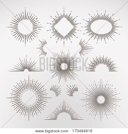 Abstract sun burst rays with border and frames vintage art vector set. Sunburst frame elements for graphic design, illustration of vintage radial line sunburst