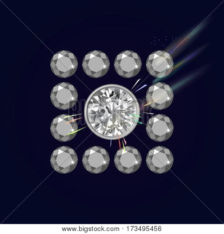 Dark lighting diamond ceiling background vector illustration