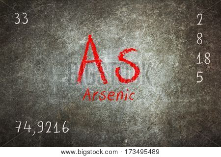Isolated blackboard with periodic table Arsenic chemistry poster