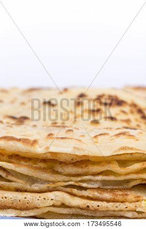 Closeup Macro Sideview Homemade Pancakes